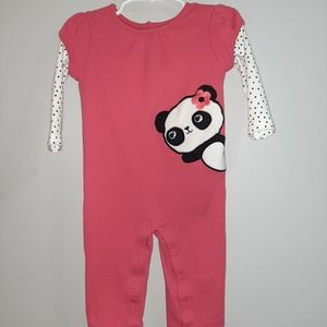 Gymboree Panda Long Sleeved Romper Outfit 12 18